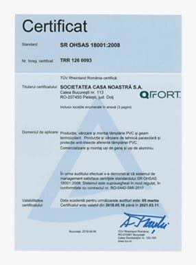 Certificat de conformitate OHSAS